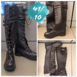 Shoes - Calf or Knee length Lace up brown boots NWOT